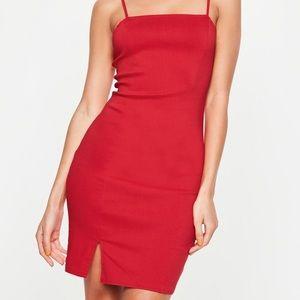 Red Cami Bodycon Dress Slit